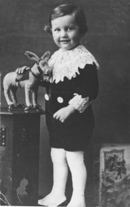 Paul Weidlinger (Pali) with toy horse.Budapest, Hungary 1917