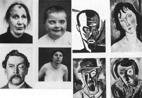 """From 1928 book """"Art and Race"""" suggesting modernist painters used deformed and diseased people as models."""