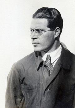 Moholy-Nagy in mechanics overalls.