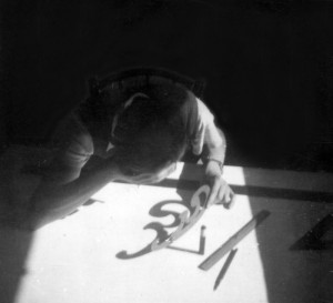 Paul Weidlinger at drafting table, 1930s
