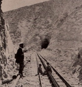Railroad with center third cog-rail for traction on steep inclines.