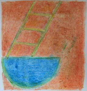 "BLUE BOWL WITH LADDER Monotype 11"" x 10"" 2011"