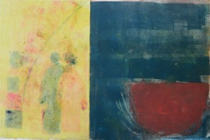 "RED BOWL WITH FIGURES - 10"" x 15"" Monotype diptych (2011)"